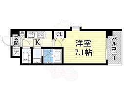 おおさか東線 城北公園通駅 徒歩8分の賃貸マンション 2階1Kの間取り