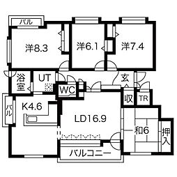 北海道札幌市西区山の手七条6丁目の賃貸マンションの間取り