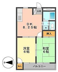東京都江戸川区大杉2丁目の賃貸アパートの間取り