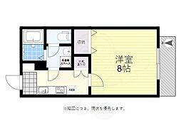 京王線 つつじヶ丘駅 徒歩12分の賃貸アパート 1階1Kの間取り
