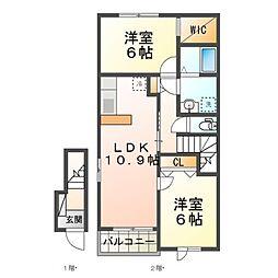 JR湖西線 安曇川駅 徒歩34分の賃貸アパート 2階2LDKの間取り