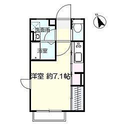ソナーレ広瀬 2階ワンルームの間取り