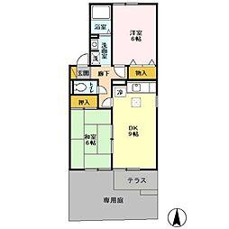 千葉県野田市尾崎台の賃貸アパートの間取り