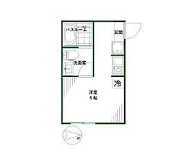 マレーア高円寺 2階ワンルームの間取り