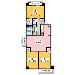 フェリーチェ勝川[5階]の間取り