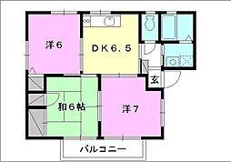 ピュアタウン[A-202 号室号室]の間取り