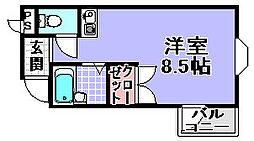 フジコーマンション小松里[106号室]の間取り