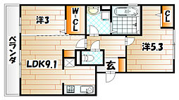 カーサ竪林[3階]の間取り
