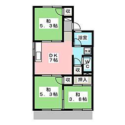 コーポラスエクセル A棟[1階]の間取り