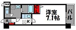 JR鹿児島本線 福工大前駅 徒歩1分の賃貸マンション 4階1Kの間取り