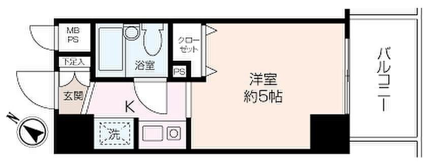 間取り(南東向き6階のお部屋で、陽当たり、眺望良好な物件です。利便性の良い立地で、一人暮らし始めませんか!)