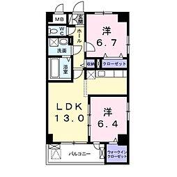 阪急千里線 南千里駅 徒歩22分の賃貸マンション 2階2LDKの間取り