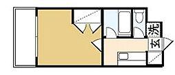 カンセイホーム樋川 2階1Kの間取り