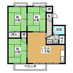 ハイツNINOWARI C棟[2階]の間取り