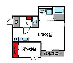 JR鹿児島本線 千早駅 徒歩5分の賃貸アパート 1階1LDKの間取り