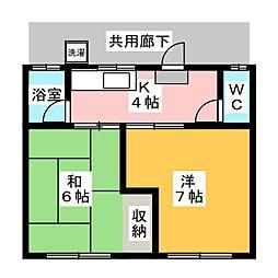 コーワ荘[1階]の間取り