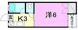 竹原ハイツ[206 号室号室]の間取り