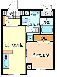 仙台市営南北線 勾当台公園駅 徒歩13分の賃貸マンション 2階1LDKの間取り