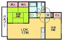 ボンセジュール田代D[2階]の間取り