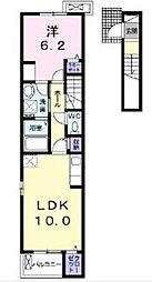 ヴェルテス五番館 2階1LDKの間取り
