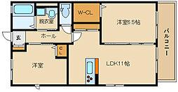 近鉄長野線 喜志駅 徒歩10分の賃貸アパート 2階2LDKの間取り