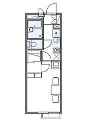 レオパレスウッドタウン(40748-305) 3階1Kの間取り