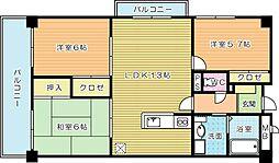 福岡県北九州市小倉南区津田1丁目の賃貸マンションの間取り