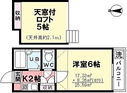 第6コーポ今川[205号室]の間取り