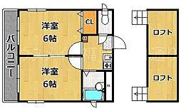 福岡県福岡市中央区地行2丁目の賃貸マンションの間取り