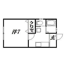 静岡県浜松市中区上島5丁目の賃貸アパートの間取り