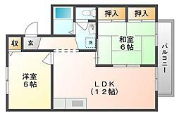 岡山県岡山市北区花尻みどり町の賃貸アパートの間取り