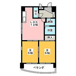 愛知県名古屋市中区橘1丁目の賃貸マンションの間取り