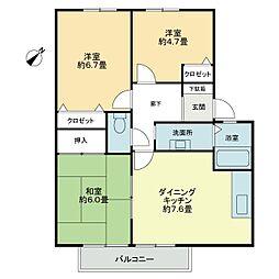 フォブール花田[2階]の間取り