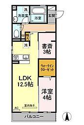 広島県福山市手城町2丁目の賃貸アパートの間取り