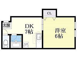 エスタバウ南堀江[2階]の間取り