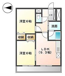 ディアコートA[6階]の間取り