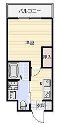 ギャラン吉野町[6階]の間取り