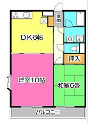 埼玉県所沢市東住吉の賃貸マンションの間取り