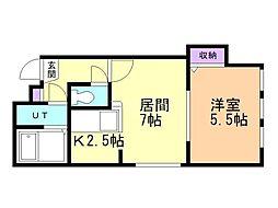 ドリームハウス豊平 3階1LDKの間取り