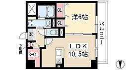 仮)弥富通マンション 6階1LDKの間取り