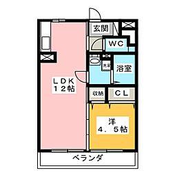セジュール一ツ木[1階]の間取り