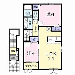 新潟県新潟市中央区網川原2丁目の賃貸アパートの間取り
