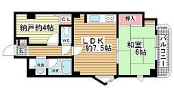 六甲道ロイヤルマンション[7階]の間取り