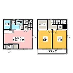 [テラスハウス] 愛知県岡崎市大門2丁目 の賃貸【愛知県 / 岡崎市】の間取り