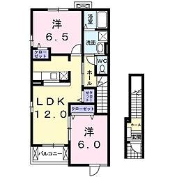 サンライト若松 II[2階]の間取り
