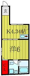 JR山手線 田端駅 徒歩15分の賃貸マンション 3階1Kの間取り