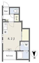 仮)常盤台四丁目計画新築工事 1階ワンルームの間取り