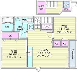 クレストールB 2階2LDKの間取り