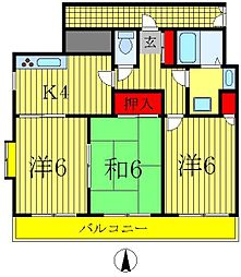 千葉県松戸市北松戸3丁目の賃貸マンションの間取り