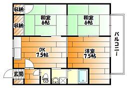 広島県広島市安佐南区山本9丁目の賃貸アパートの間取り